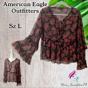 American Eagle Outfitters - Sz L - flowy boho top